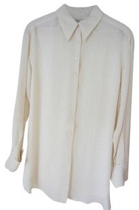 Ann Taylor Silk Jacquard Tunic Length Button Down Shirt Cream