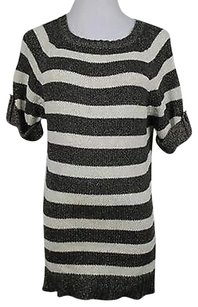 Ann Taylor Womens Gray Striped Crew Neck Xsmall Cotton Short Sleeve T Sweater