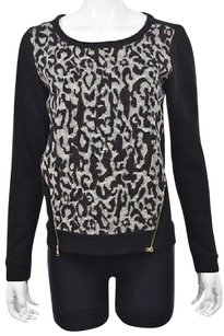 Ann Taylor Womens Black Crewneck Printed Long Sleeve Guc Sweater