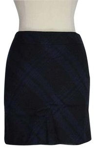 Ann Taylor LOFT Womens Petites Black Plaid 0p Mini Above Knee Wool Skirt Blue