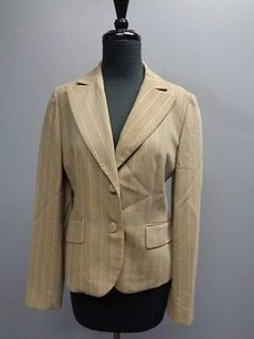 Ann Taylor LOFT Ann Taylor Loft Beige And Cream Pin Striped Button Blazer Sma8397