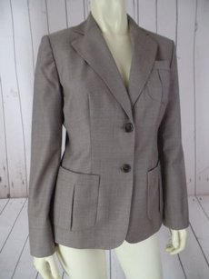 Ann Taylor LOFT Ann Taylor Loft Blazer Taupe Wool Poly Tencel Fitted Lightweight Tailored Chic