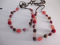 Ann Taylor LOFT Ann Taylor Loft Multi Charm Stone Crochet Tie Necklace Set Of Each