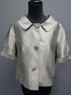 Ann Taylor LOFT Silk Lined Button Front Cropped Sma11551 Silver Jacket