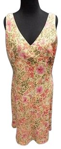 Ann Taylor LOFT Floral Linen Blend Lined Sheath Sma9580 Dress