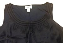 Ann Taylor LOFT Sleeveless Embroidered Preppy Classic Top BLUE NAVY