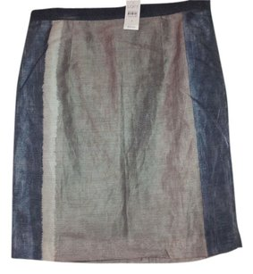 Ann Taylor LOFT Summer Casual Skirt Blue/taupe/gray multi