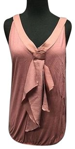 Ann Taylor LOFT Stretch Roughed V Neck Casual Sleeveless 2809a Top Mauve