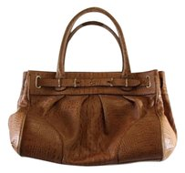 Ann Taylor Womens Leather Textured Handbag Casual Satchel in Brown
