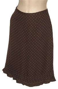 Ann Taylor Skirt Dark Brown with Blue dots