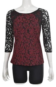 Ann Taylor Womens Black Red Textured Party Shirt Top Multi-Color