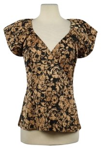 Ann Taylor Womens Floral Cap Sleeve Career Shirt Top Tan