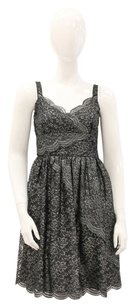 Anna Sui Metallic Lace Scalloped Wrap Empire Dress