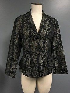 Anne Klein Anne Klein Black Silk Blend Floral Two Button Collared Blazer Sma5416