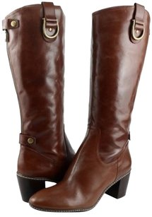 Anne Klein Brenton Leather Womens Designer Knee High 9.5 Cognac Boots