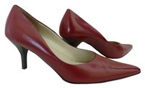 Anne Klein Leather Pointed Toe Red Pumps