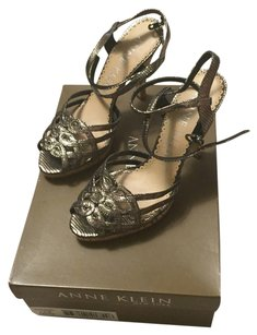 Anne Klein Leather Pewter Crackle Metallic Sandals
