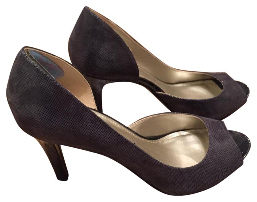 Anne Klein Open Toe Pump Navy Blue
