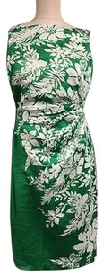 Anne Klein Green White Sleeveless Floral Back Zip Sheath Sma9445 Dress