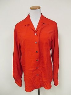 Anne Klein Ii Silk Long Sleeves Solid Button Front Shirt J957 Top Red