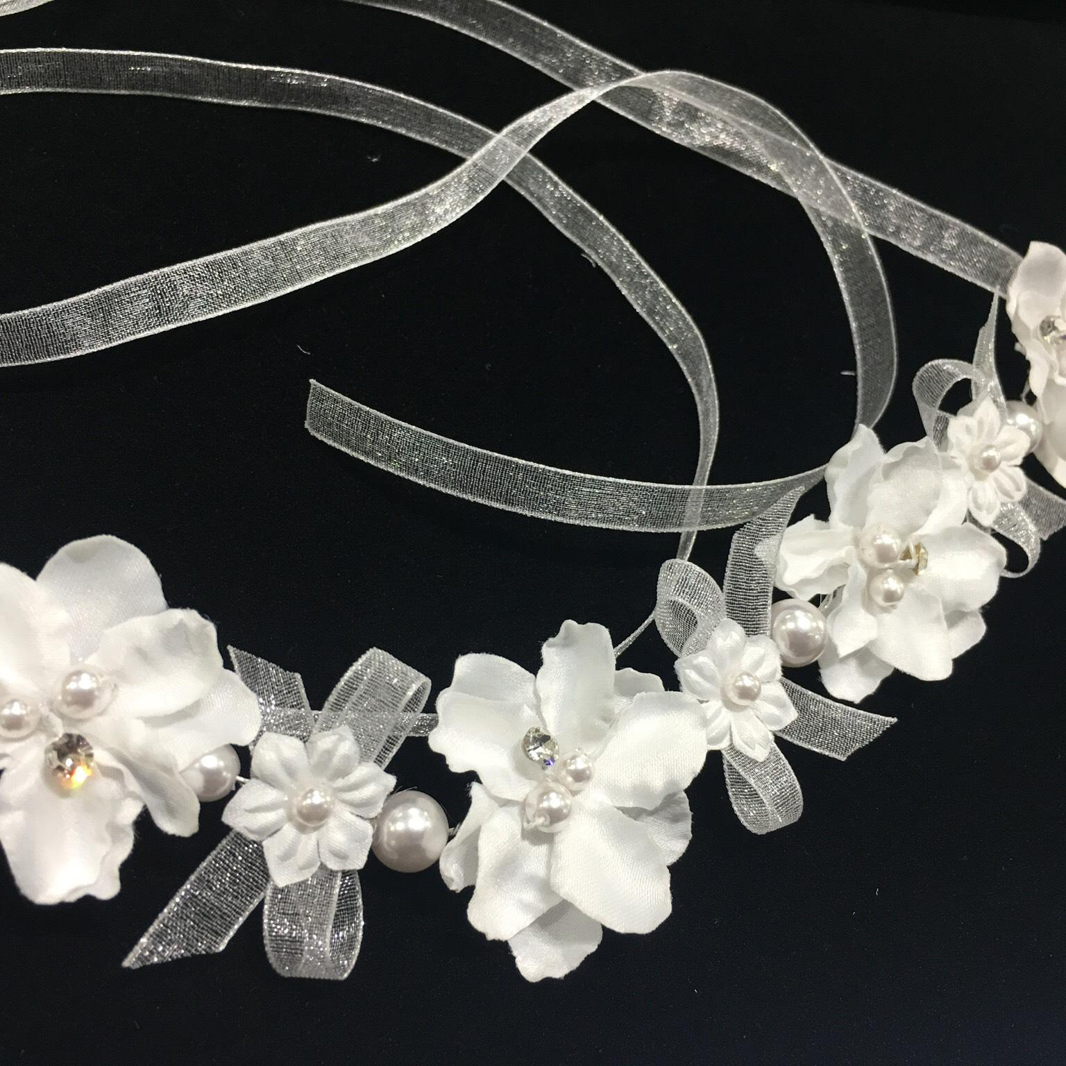 Ansonia Bridal White New Floral Ribbom Headband/Belt Hair ... Quailman Belt Headband