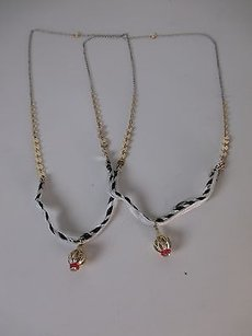 Anthropologie Anthropologie Blk White Ribbon Gold Pendant Long Necklace Set Of