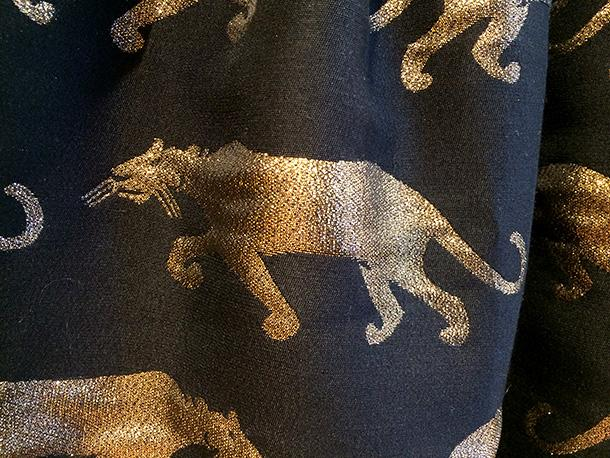 Anthropologie black and gold panther dress