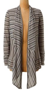 Anthropologie Black White Charcoal Stripes Draped Cardigan