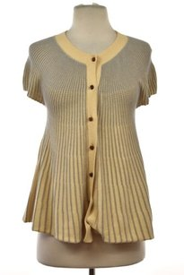 Anthropologie Moth Womens Striped Cardigan Casual Cotton Short Sleeve Sweater