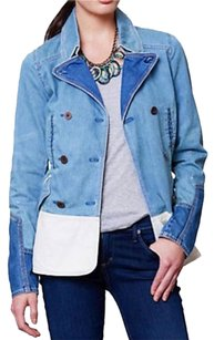 Anthropologie Color-blocking Blue + White Womens Jean Jacket