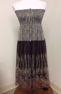 Anthropologie short dress Brown Lapis Med Sheer Floral Hippie Boho on Tradesy