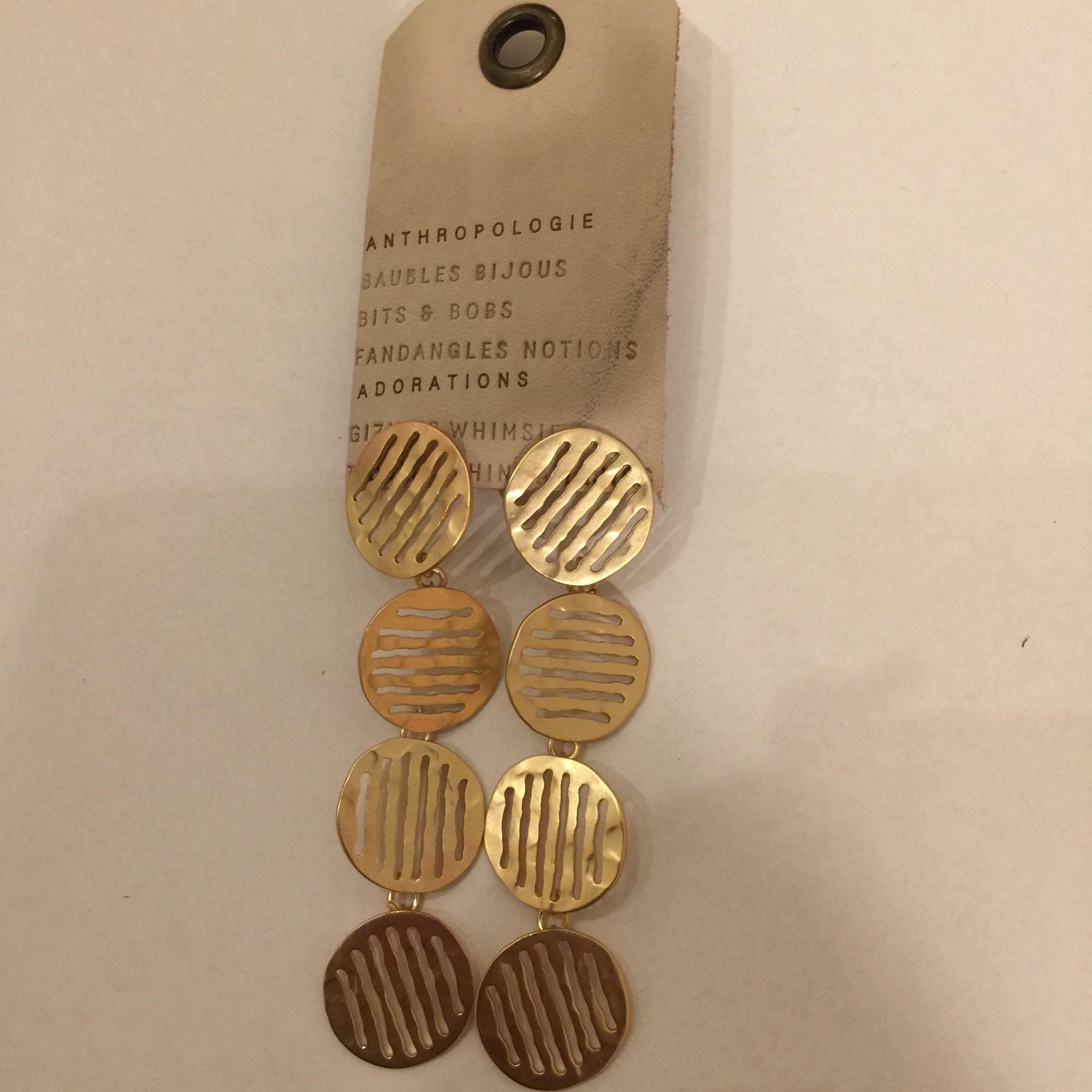 Anthropologie Striped Circle Drop Earrings