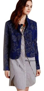 Anthropologie Jacquard Blue Motif Jacket