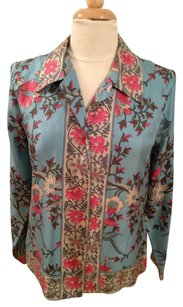 Anthropologie Silk Button Down Shirt Turquoise and Pink Floral