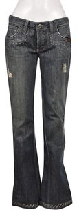 Antik Denim Womens Blue Distressed Wash Pants Boot Cut Jeans