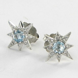 Anzie Anzie Mini Aztec Starburst Stud Earrings Blue Topaz White Sapphire 925