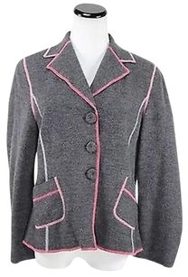 Apriori Apriori Womens Gray Pink Blazer Long Sleeve Wool Basic Jacket