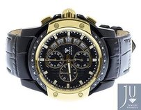 Aqua Master Mens Aqua Master Joe Rodeo Jojo Diamond 45mm Black Yellow W347 Watch 0.18 Ct