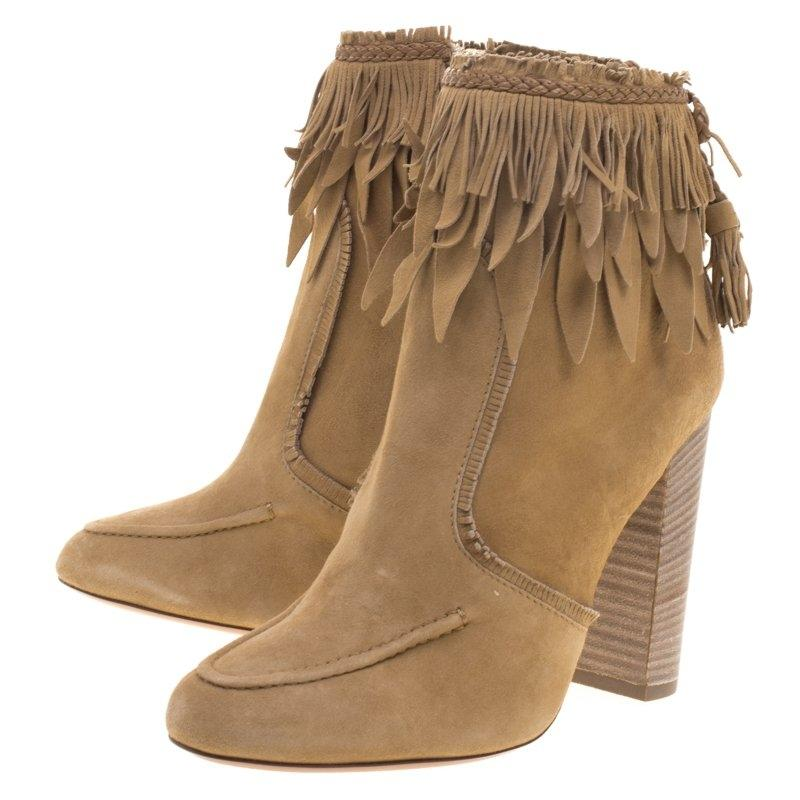 Aquazzura Beige Suede Tiger Lily Fringe Ankle Boots/Booties Size EU 38 (Approx. US 8) Narrow (Aa, N)
