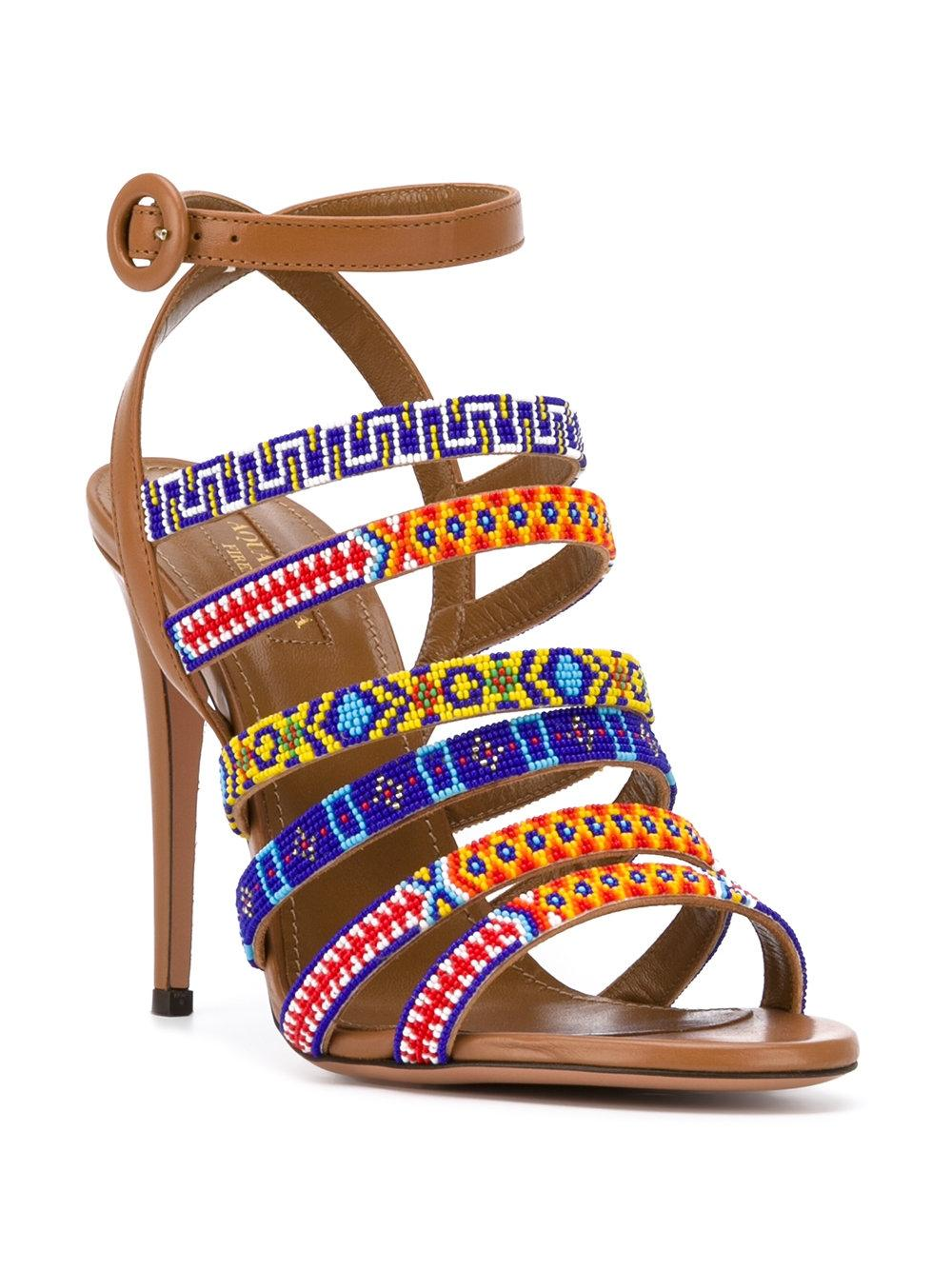 Aquazzura Brown/Whiskey with Colorful Beaded Strap Masai 105 Sandals Size EU 38 (Approx. US 8) Regular (M, B)