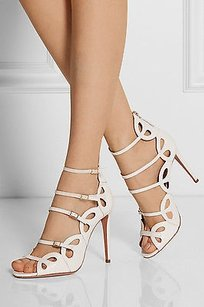 Aquazzura Jadore Elaphe White Pumps