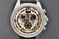 Arctica Arctica Diamond Watch Mens Gold White Dial Row Bezel 1.5ct Date Chronograph