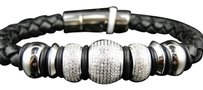 Arctica Mens,Si,Diamond,Beaded,Shamballa,Style,Leather,Band,Bracelet,By,Arctica,3.6,Ct
