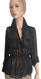 Arden B. Button Down Shirt Black Gold