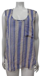 Ark & Co. Co Polka Dots Stripe Cross Back Sheer Top beige blue