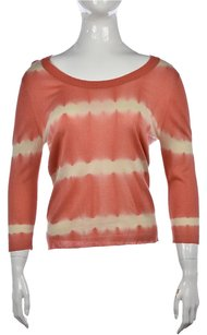 Armand Diradourian Womens Coral Scoop Neck Printed Shirt Sweater