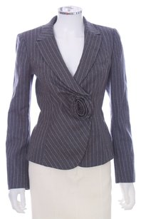 Armani Collezioni Antinea Floral Black White Rose Rosette Gray Blazer