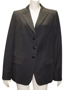 Armani Collezioni Armani Collezioni Black Tonal Textured Striped Notched Lapel Blazer Hs1313