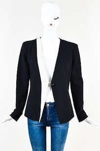 Armani Collezioni Armani Collezioni Blue White Color Block Single Button Collarless Blazer