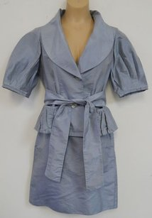 Armani Collezioni Armani Collezioni Italy Blue Gray 100 Silk Skirt Suit
